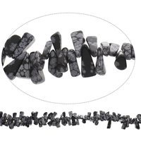 Edelstein-Span, Schneeflocke Obsidian, Klumpen, 8x16x5mm-12x22x9mm, Bohrung:ca. 1mm, Länge:ca. 15 ZollInch, 5SträngeStrang/Tasche, ca. 98PCs/Strang, verkauft von Tasche