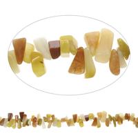 Edelstein-Span, gelbe Jade, Klumpen, 9x10mm-10x18mm, Bohrung:ca. 0.8mm, Länge:ca. 15 ZollInch, 5SträngeStrang/Tasche, ca. 100PCs/Strang, verkauft von Tasche