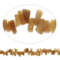 Edelstein-Span, gelbe Jade, Klumpen, 7x9mm-10x18mm, Bohrung:ca. 0.8mm, Länge:ca. 15 ZollInch, 5SträngeStrang/Tasche, ca. 105PCs/Strang, verkauft von Tasche