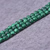 Malachit Perlen, rund, synthetisch, verschiedene Größen vorhanden, Bohrung:ca. 1-2mm, Länge:ca. 15 ZollInch, verkauft von Menge