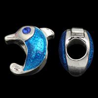 Zink Legierung Europa Perlen, Zinklegierung, Dolphin, silberfarben plattiert, ohne troll & Emaille, frei von Blei & Kadmium, 13x13x9mm, Bohrung:ca. 4.5mm, verkauft von PC