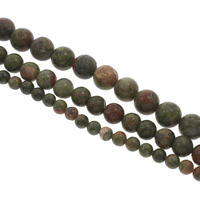 Unakit Perlen, Unakite, rund, verschiedene Größen vorhanden, Bohrung:ca. 1mm, verkauft per ca. 15 ZollInch Strang