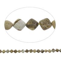 Bild Jaspis Perle, Rhombus, 13x5mm, Bohrung:ca. 1mm, ca. 33PCs/Strang, verkauft per ca. 15 ZollInch Strang