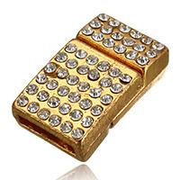 Zinklegierung Magnetverschluss, Rechteck, goldfarben plattiert, mit Strass, frei von Nickel, Blei & Kadmium, 21x12.50x7mm, Bohrung:ca. 10x2.5mm, 30PCs/Menge, verkauft von Menge
