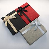 Karton Schmuckset Kasten, Fingerring & Ohrring & Halskette, mit Schwamm & Satinband, Rechteck, mit Dekoration von Bandschleife, gemischte Farben, 100x130x31mm, 24PCs/Menge, verkauft von Menge