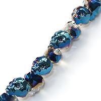 Kristall-Perlen, Kristall, Schädel, halb plattiert, verschiedene Größen vorhanden & facettierte, Bohrung:ca. 2mm, 50PCs/Menge, verkauft von Menge