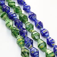 Murano Millefiori Lampwork Perle, Doppelkegel, handgemacht, keine, 13x8-9mm, Bohrung:ca. 0.5mm, Länge:ca. 16.5 ZollInch, 10SträngeStrang/Menge, ca. 33PCs/Strang, verkauft von Menge