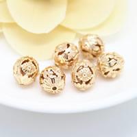 Messing hohle Perlen, 24 K vergoldet, frei von Nickel, Blei & Kadmium, 10x11.50mm, Bohrung:ca. 1.3mm, 50PCs/Menge, verkauft von Menge