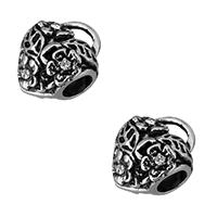 Edelstahl Kaution Perlen, Herz, ohne troll & mit Strass & Schwärzen, 13x15x10mm, Bohrung:ca. 5mm, 3.5x2mm, 10PCs/Menge, verkauft von Menge