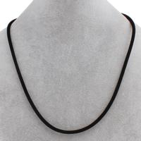 Mode Halskette Schnur, Baumwollsamt, Eisen Karabinerverschluss, mit Verlängerungskettchen von 6cm, schwarz, 3mm, verkauft per ca. 18.5 ZollInch Strang