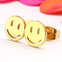 Edelstahl Ohrringe, Lächelndes Gesichte, goldfarben plattiert, 8x11mm, verkauft von Paar
