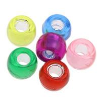 Silberdruck Acrylperlen, Acryl, Trommel, transluzent, gemischte Farben, 6x9mm, Bohrung:ca. 3mm, ca. 1800PCs/Tasche, verkauft von Tasche