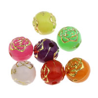 Golddruck Acryl Perlen, Blume, Volltonfarbe, gemischte Farben, 6mm, Bohrung:ca. 1mm, ca. 4400PCs/Tasche, verkauft von Tasche