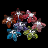 Silberdruck Acrylperlen, Acryl, Stern, transparent, gemischte Farben, 10x4mm, Bohrung:ca. 1mm, ca. 3100PCs/Tasche, verkauft von Tasche