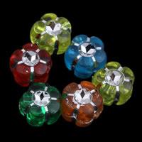 Silberdruck Acrylperlen, Acryl, Blume, transparent, gemischte Farben, 7x5mm, Bohrung:ca. 1mm, ca. 3750PCs/Tasche, verkauft von Tasche