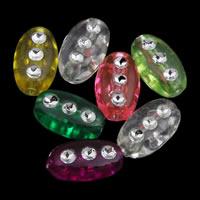 Silberdruck Acrylperlen, Acryl, oval, transparent, gemischte Farben, 5x9mm, Bohrung:ca. 1mm, ca. 3400PCs/Tasche, verkauft von Tasche