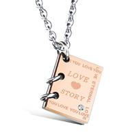 Edelstahl Schmuck Halskette, Buch, plattiert, mit einem Muster von Herzen & Oval-Kette & mit Brief Muster & Micro pave Zirkonia & für Frau, 12x15mm, verkauft per ca. 17.7 ZollInch Strang