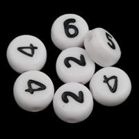 Anzahl Acrylkorn, Acryl, flache Runde, gemischtes Muster & mit einem Muster von Nummer & Volltonfarbe, weiß, 4x7mm, Bohrung:ca. 1mm, ca. 3600PCs/Tasche, verkauft von Tasche