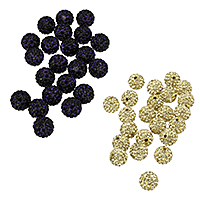 Strass Ton befestigte Perlen, Strass Ton befestigte Perelen, rund, keine, 10mm, Bohrung:ca. 2mm, 10PCs/Tasche, verkauft von Tasche