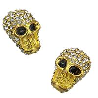 Strass Zinklegierung Perlen, Schädel, goldfarben plattiert, mit Strass, frei von Nickel, Blei & Kadmium, 12x17x9mm, Bohrung:ca. 2mm, 50PCs/Menge, verkauft von Menge