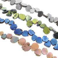 Natürliche Beschichtung Quarz Perlen, Natürlicher Quarz, bunte Farbe plattiert, keine, 17x12x5mm-39x28x10mm, Bohrung:ca. 1mm, ca. 27PCs/Strang, verkauft per ca. 15.5 ZollInch Strang