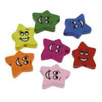 Holz Smile Face-Muster Bead, Stern, Drucken, gemischte Farben, 18x20x4mm, Bohrung:ca. 1mm, 1000PCs/Tasche, verkauft von Tasche
