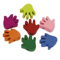 Holzperlen, Holz, Hand, gemischte Farben, 17x17x4mm, Bohrung:ca. 1mm, 200PCs/Tasche, verkauft von Tasche