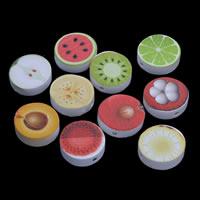 Holzperlen, Holz, flache Runde, Drucken & Fruchtentwurf & gemischtes Muster, 20x5mm, Bohrung:ca. 1mm, 200PCs/Tasche, verkauft von Tasche