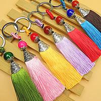 Schlüsselanhänger, Nylon, mit Zinklegierung, QuasteTroddel, plattiert, keine, 140mm, verkauft von Strang