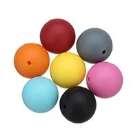 Silikon-Perlen, Silikon, rund, FDA-Zulassung, keine, 20mm, Bohrung:ca. 2mm, 50PCs/Tasche, verkauft von Tasche