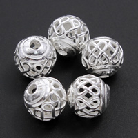 Messing hohle Perlen, rund, versilbert, frei von Blei & Kadmium, 9mm, Bohrung:ca. 1mm, verkauft von PC