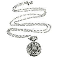 Mode Halskette Uhr, Zinklegierung, mit Eisenkette & Glas, Blume, Platinfarbe platiniert, Oval-Kette, frei von Nickel, Blei & Kadmium, 27mm, verkauft per ca. 15.7 ZollInch Strang