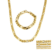 Verfeinern Edelstahl-Schmuck-Sets, Armband & Halskette, Edelstahl, goldfarben plattiert, verschiedene Größen vorhanden & Figaro Kette, Länge:ca. 8 ZollInch, ca. 23.5 ZollInch, verkauft von setzen