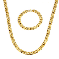 Verfeinern Edelstahl-Schmuck-Sets, Armband & Halskette, Edelstahl, goldfarben plattiert, verschiedene Größen vorhanden & Twist oval, Länge:ca. 8 ZollInch, ca. 23.5 ZollInch, verkauft von setzen