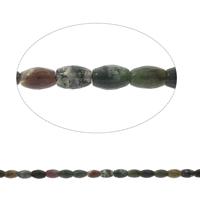 Natürliche Moos Achat Perlen, oval, facettierte, 8x12mm, Bohrung:ca. 1mm, Länge:ca. 14.5 ZollInch, 5SträngeStrang/Tasche, ca. 32PCs/Strang, verkauft von Tasche
