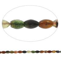 Natürliche Crackle Achat Perlen, Geknister Achat, oval, facettierte, gemischte Farben, 8x12mm, Bohrung:ca. 1mm, Länge:ca. 14.5 ZollInch, 5SträngeStrang/Tasche, ca. 32PCs/Strang, verkauft von Tasche