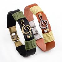 Unisex-Armband & Bangle, Kuhhaut, mit Zinklegierung, Musiknote, plattiert, keine, verkauft per ca. 8.6 ZollInch Strang