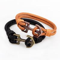 Unisex-Armband & Bangle, Kuhhaut, Zinklegierung Verschluss, Anker, plattiert, nautische Muster, keine, verkauft per ca. 8.6 ZollInch Strang