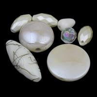 Gemischte Acrylperlen, gemischte Materialien, weiß, 4x10mm-20x25x8mm, Bohrung:ca. 1-2mm, ca. 1000PCs/Tasche, verkauft von Tasche