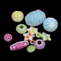 Acryl gemischt, chemische-Waschanlagen, 8x5mm-25x35x10mm, Bohrung:ca. 1-2mm, ca. 2000PCs/Tasche, verkauft von Tasche