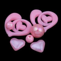 Gemischte Acrylperlen, Acryl, Rosa, 8mm-25x30x6mm, Bohrung:ca. 1-2mm, ca. 1000PCs/Tasche, verkauft von Tasche