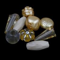 Gemischte Acrylperlen, gemischte Materialien, gelb, 10x10mm-25x10mm, Bohrung:ca. 1-2mm, ca. 1000PCs/Tasche, verkauft von Tasche