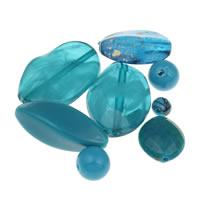 Gemischte Acrylperlen, Acryl, blau, 6mm-20x35x8mm, Bohrung:ca. 1-2mm, ca. 1000PCs/Tasche, verkauft von Tasche