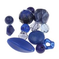 Gemischte Acrylperlen, Acryl, tiefblau, 6mm-20x35x12mm, Bohrung:ca. 1-2mm, ca. 1000PCs/Tasche, verkauft von Tasche