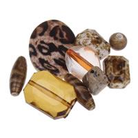 Gemischte Acrylperlen, Acryl, Kaffeefarbe, 8x4mm-20x30x6mm, Bohrung:ca. 1-2mm, ca. 1000PCs/Tasche, verkauft von Tasche