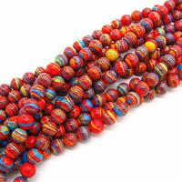 Malachit Perle, rund, synthetisch, 6mm, Bohrung:ca. 1mm, Länge:ca. 15 ZollInch, 5SträngeStrang/Tasche, ca. 60PCs/Strang, verkauft von Tasche