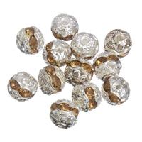 Strass Messing Perlen, rund, Platinfarbe platiniert, mit Strass, frei von Nickel, Blei & Kadmium, 8mm, Bohrung:ca. 1mm, 100PCs/Tasche, verkauft von Tasche