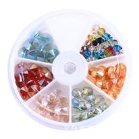 Flache runde Kristall Perlen, mit Kunststoff Kasten, facettierte, gemischte Farben, 83mm, 6mm, 8mm, 10mm, ca. 118PCs/Box