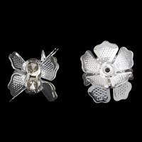 Strass Messing Perlen, Blume, silberfarben plattiert, mit Strass, frei von Nickel, Blei & Kadmium, 11x12mm, Bohrung:ca. 1mm, 10PCs/Tasche, verkauft von Tasche