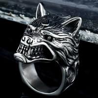 Edelstahl Herren-Fingerring, Titanstahl, Wolf, verschiedene Größen vorhanden & für den Menschen & Schwärzen, 7-11mm, verkauft von PC